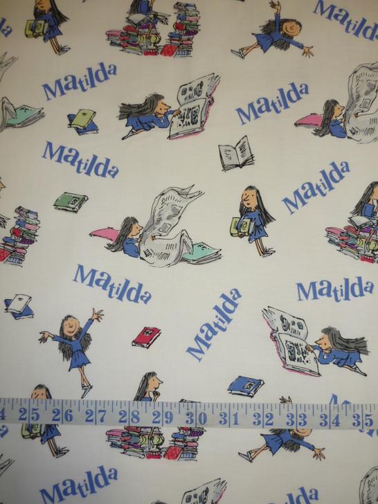 Matilda Roald Dahl Main White Cotton Quilting Fabric
