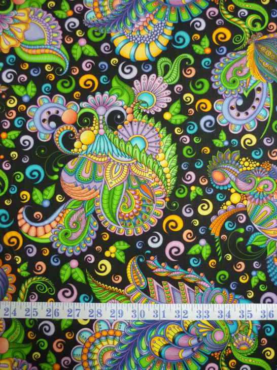 Festival Geo Spaced Paisley Black Background Cotton Quilting Fabric