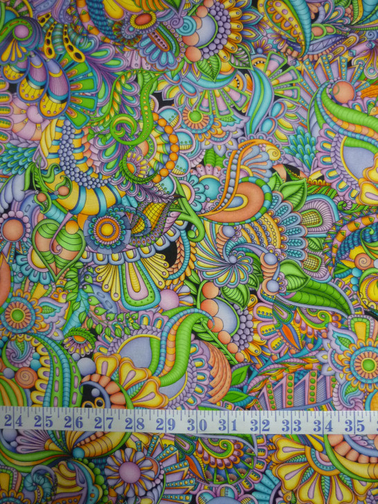 Festival Geo Packed Paisley Multi Cotton Quilting Fabric