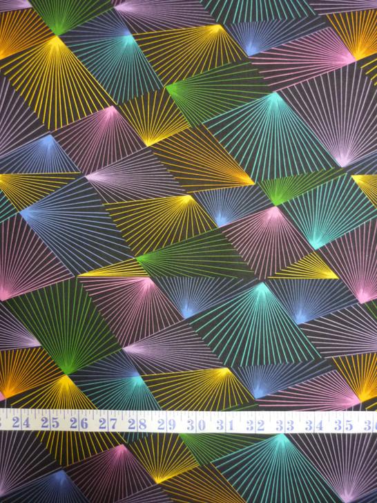Festival Prism Black Background Cotton Quilting Fabric