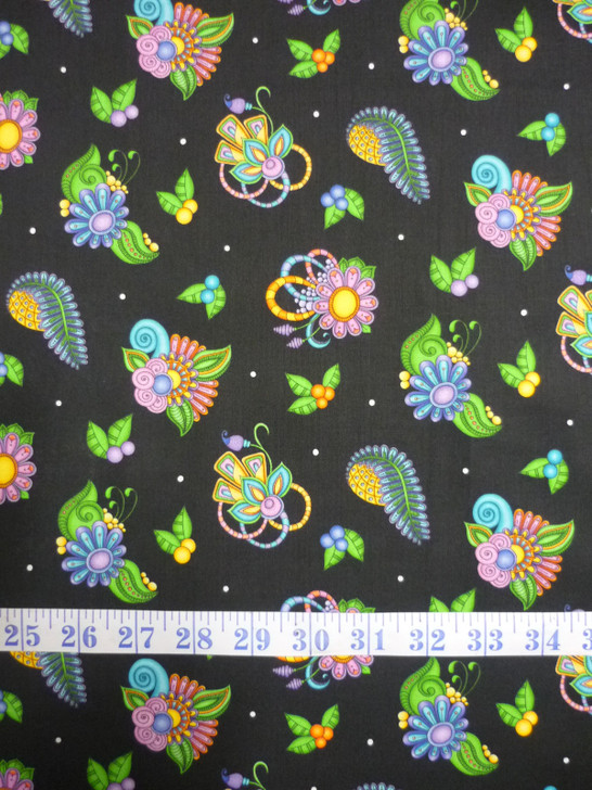 Festival Paisley and Floral Toss Cotton quilting Fabric