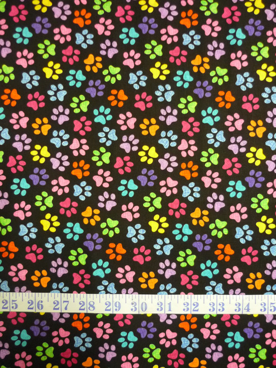 Crazy for Cats Paws Black Background Cotton quilting Fabric