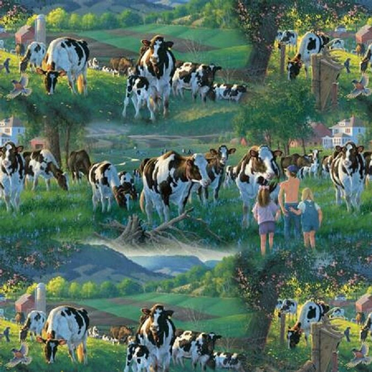 Cows in the Sun Farmyard Animals Digital Print Cotton Quilting Fabric