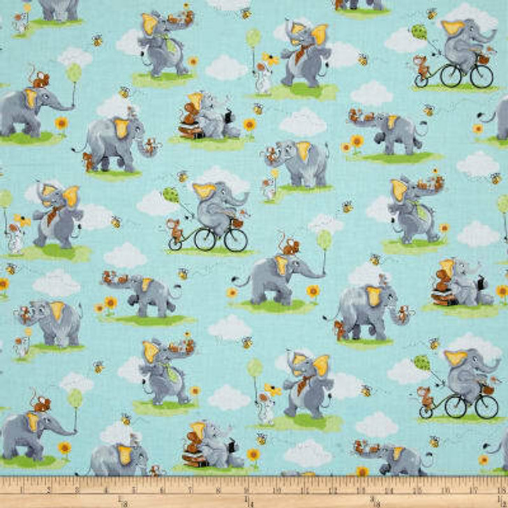 Susybee Knightley the Elephant Allover Aqua Cotton Quilting Fabric