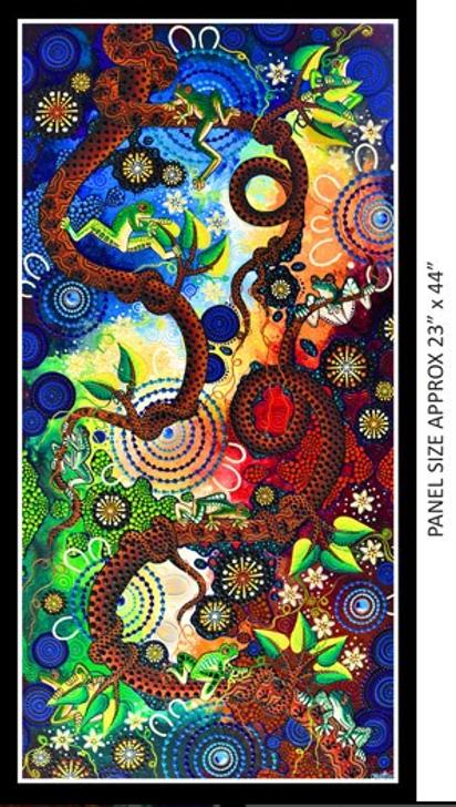 Aboriginal Art Spirit of the Bush Frog Dreaming – Tjawan Ritjinguthinha Cotton Quilting Fabric Panel