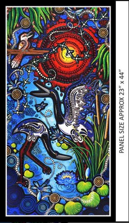 Aboriginal Art Spirit of the Bush The Kookaburra and the Jabiru Cotton Quilting Fabric Panel