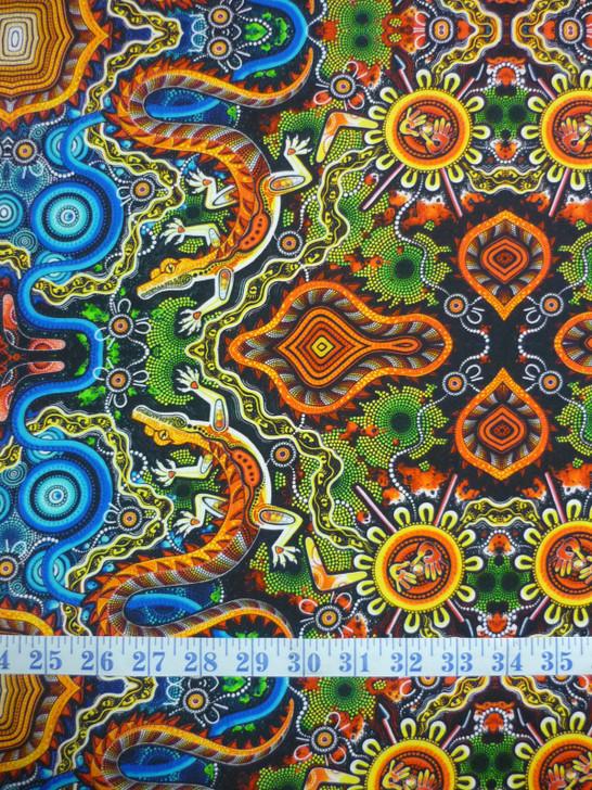 Aboriginal Art Spirit of the Bush Crocodile – Yurtuyurtu Cotton Quilting Fabric