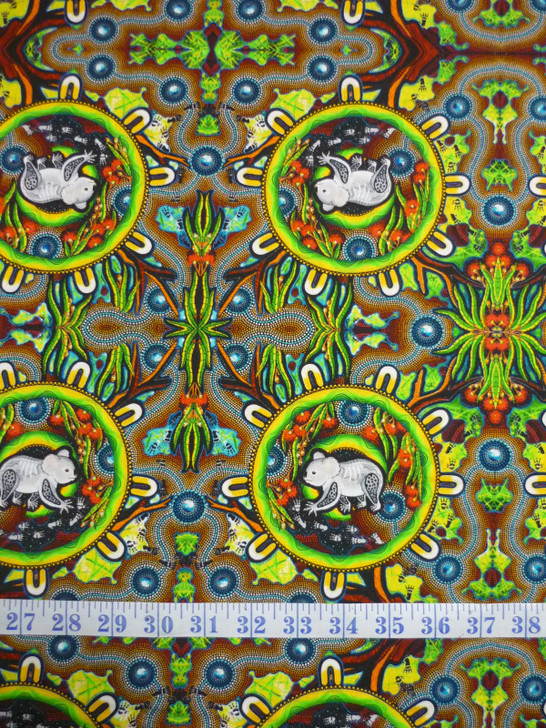 Aboriginal Art Spirit of the Bush Asleep all the time – Wamilayan Nyimu Cotton Quilting Fabric