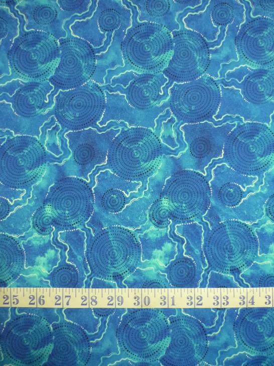 Aboriginal Art Spirit of the Bush Waterholes – Kuukili Cotton Quilting Fabric