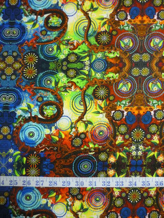 Aboriginal Art Spirit of the Bush Frog Dreaming Cotton quilting Fabric