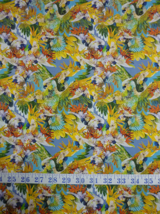 Cockatoo Chatter Pale Cockies Cotton Quilting Fabric