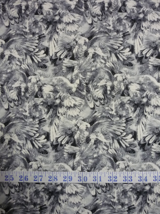Cockatoo Chatter Grey Cockatoos Cotton Quilting Fabric