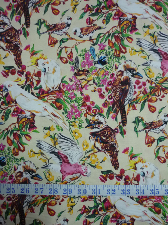 Burrangong Birdlife Australian Birds Cream Background Cotton Quilting Fabric