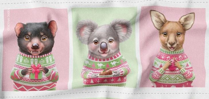 Aussie Friends Festive Fun Christmas Tasmanian Devil Koala Kangaroo Cotton Quilting Fabric Panel
