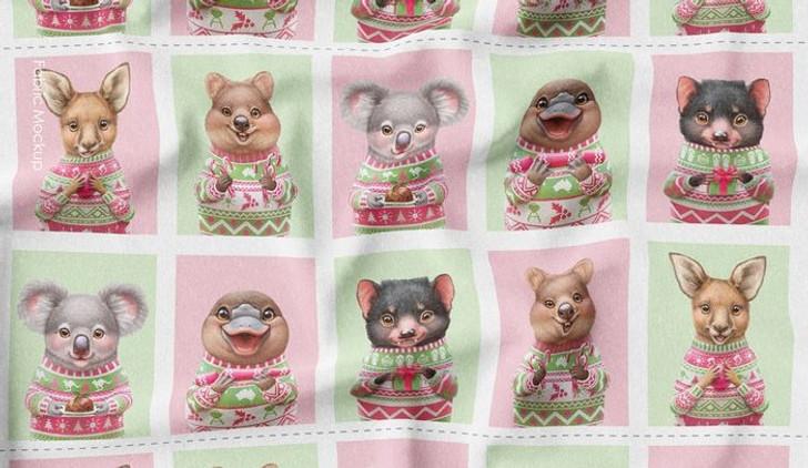 Aussie Friends Festive Fun Christmas Animals Blocks Cotton Quilting Fabric Panel