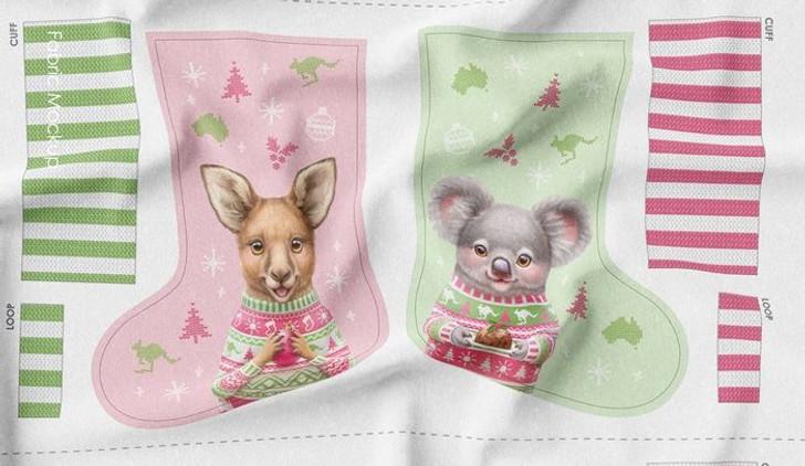 Aussie Friends Festive Fun Christmas Stockings Koala Kangaroo Cotton Quilting Fabric Panel