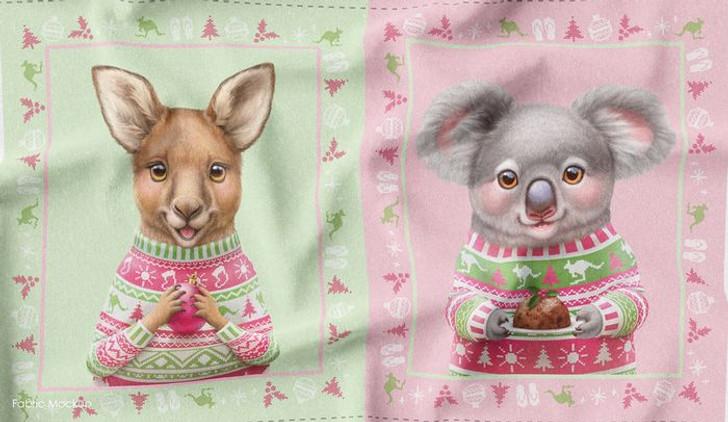 Aussie Friends Festive Fun Christmas Koala Kangaroo Cotton Quilting Fabric Panel