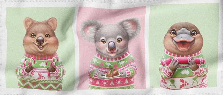 Aussie Friends Festive Fun Christmas Quokka Koala Platypus Cotton Quilting Fabric Panel