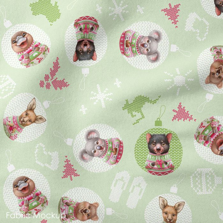 Aussie Friends Festive Fun Christmas Animals in Baubles Green Cotton Quilting Fabric