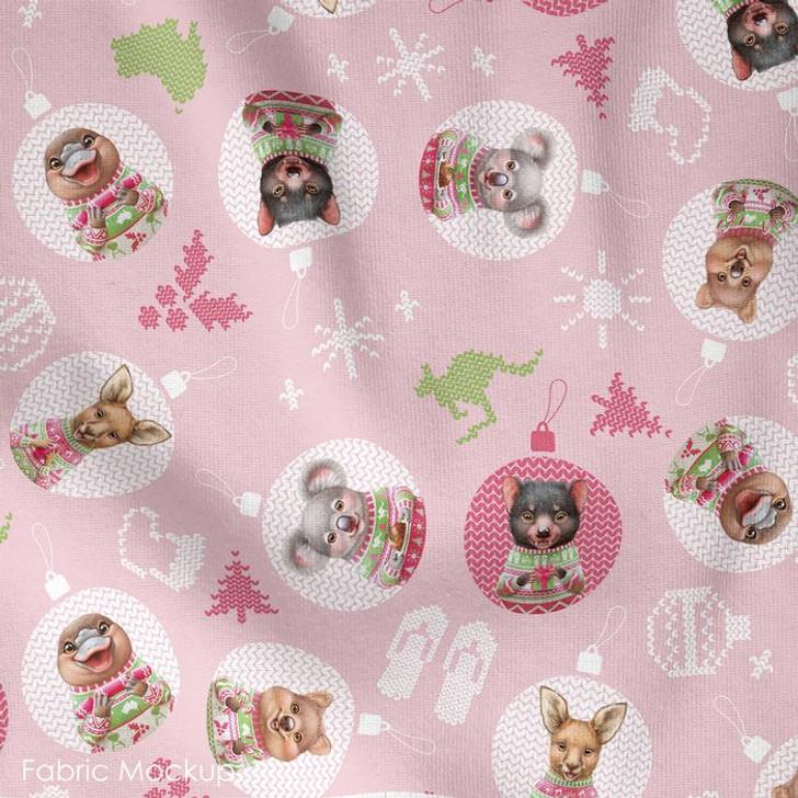 Aussie Friends Festive Fun Christmas Animals in Baubles Pink Cotton Quilting Fabric