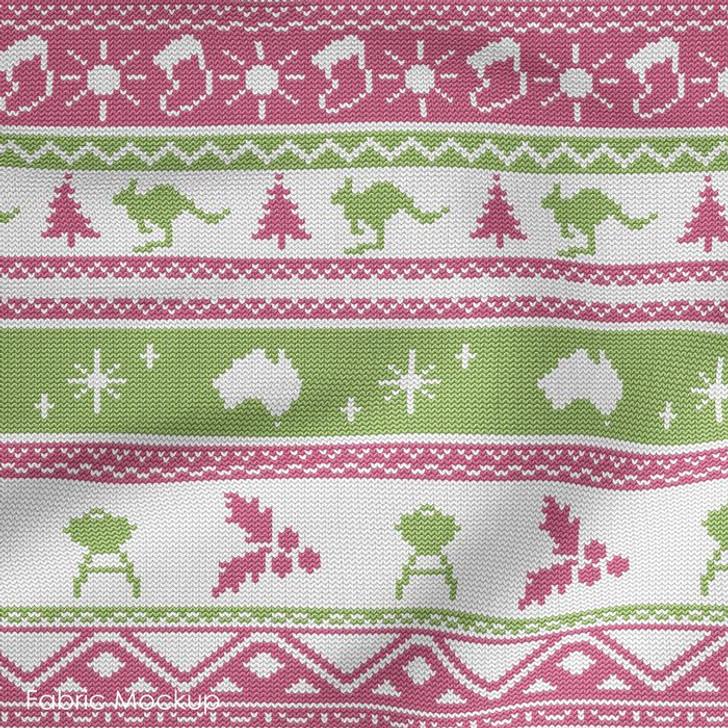 Aussie Friends Festive Fun Christmas Pink Stripe Cotton Quilting Fabric