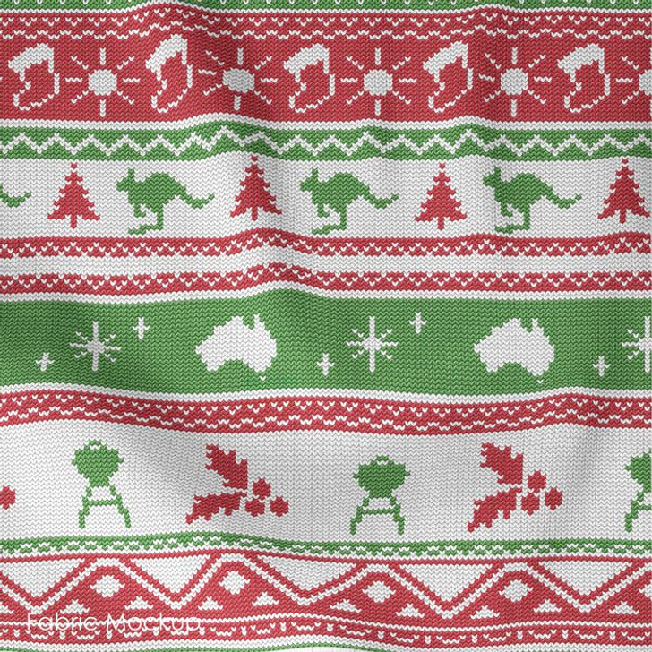 Aussie Friends Festive Fun Christmas Red Stripe Cotton Quilting Fabric