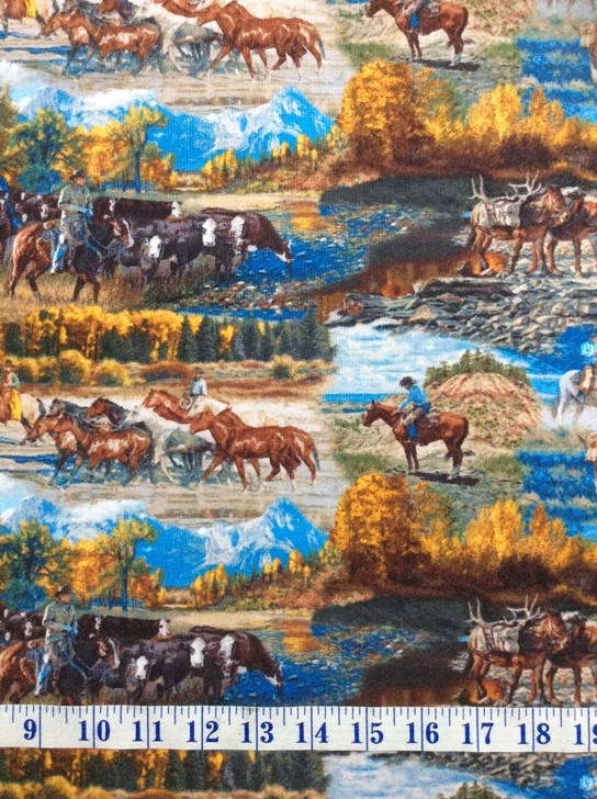 Cowboys Western Horses Mountain Pass Scenic Multi Cotton Quilting Fabric