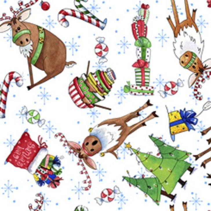 Christmas Reindeer Antics Presents Candy Cane Tossed White Cotton Quilting Fabric