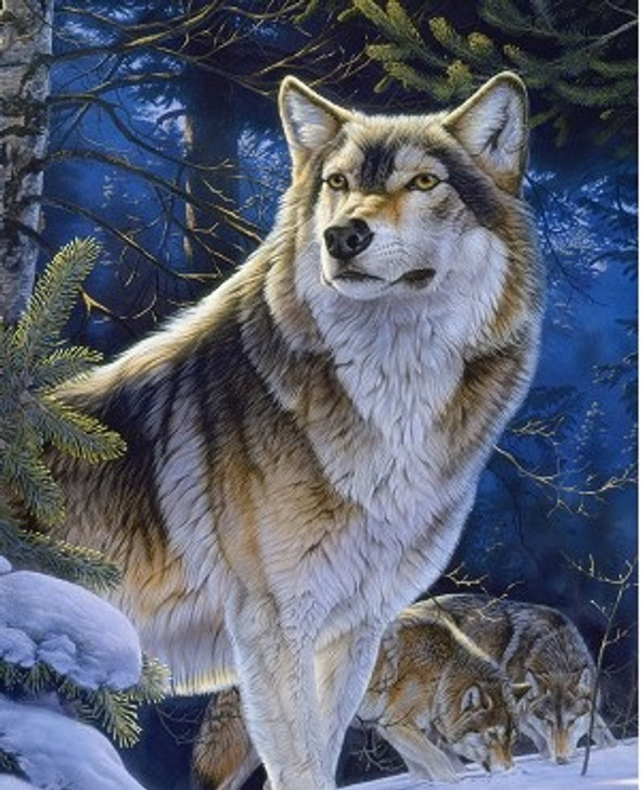 Wolves Sentinel Digital Print Cotton Quilting Fabric Panel