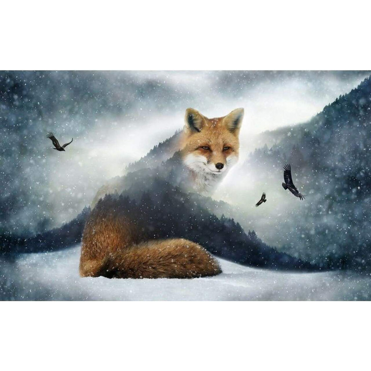 Call of the Wild Fox Cotton Quilting Fabric Panel