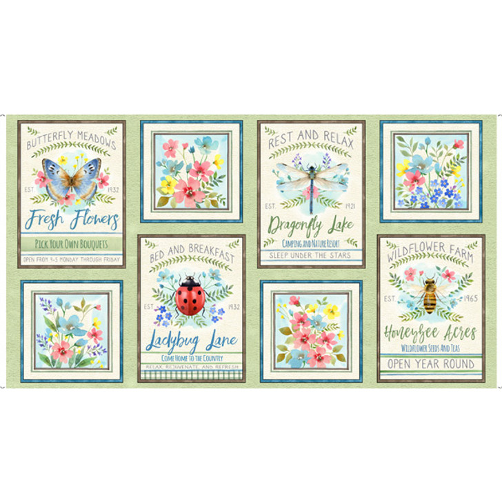 Wildflower Farm Flowers Ladybugs Bees Light Green Cotton Quilting Fabric Panel