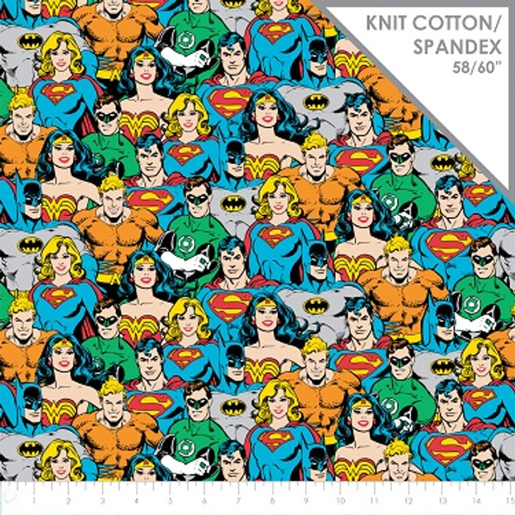 Superman Batman Wonder Woman Superhero Crowd Multi STRETCH KNIT Fabric 1/2 YARD
