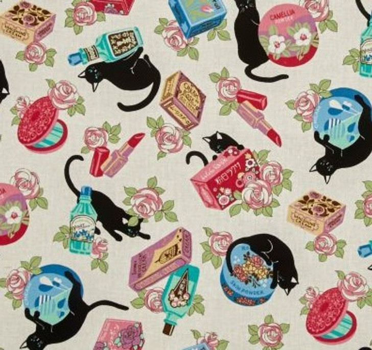 Cats Cosmo Black Cats and Makeup White Background Cotton Quilting Fabric 1/2 YARD