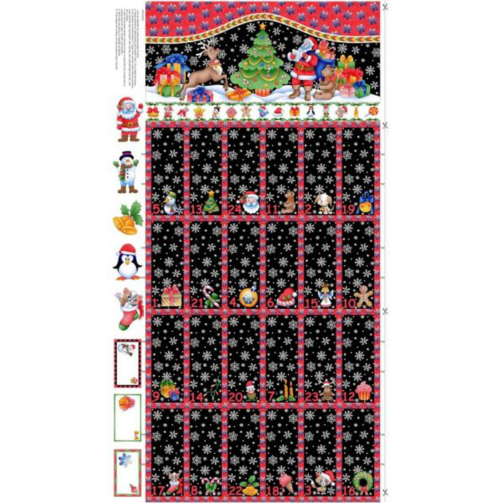 Father Christmas Santa Reindeer Advent Calendar Cotton Quilting Fabric Panel