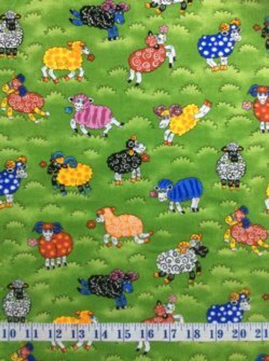 Rainbow Sheep In Meadow Paddock Field Cotton Quilting Fabric 60cms