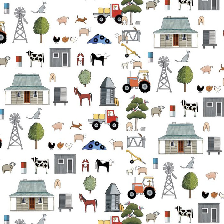 Anywhere is Paradise Mixed Farming  DV3985 Cotton Quilting Fabric