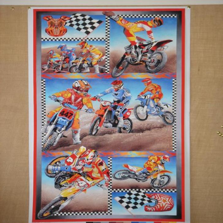 Motorcross Motorbikes Boys Cotton Quilting Fabric Panel