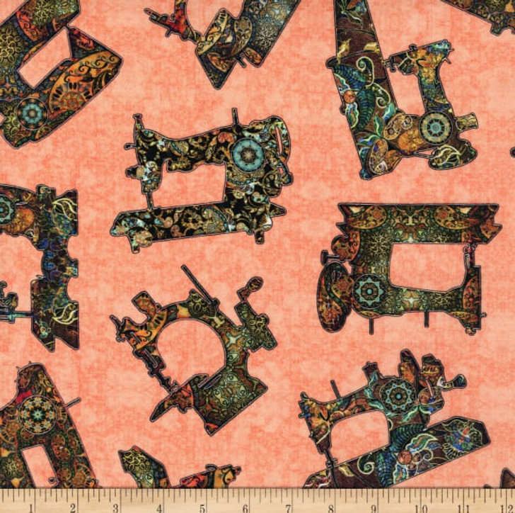 Sew Lovely Sewing Machine Toss Dark Salmon Cotton Quilting Fabric