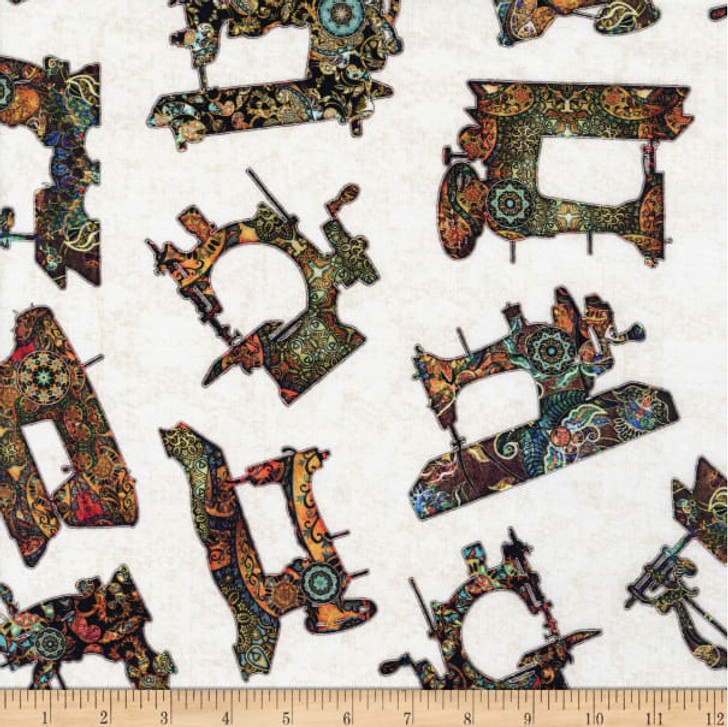 Sew Lovely Sewing Machine Toss Cream Cotton Quilting Fabric