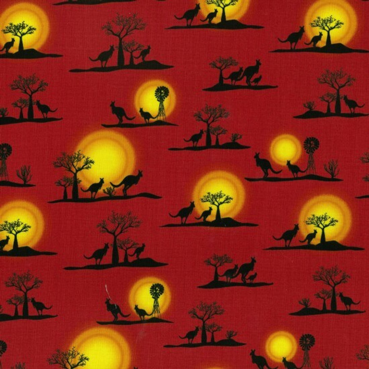 Australian Outback Kangaroos Sunset Windmills Red Cotton Quilting Fabric 55cms
