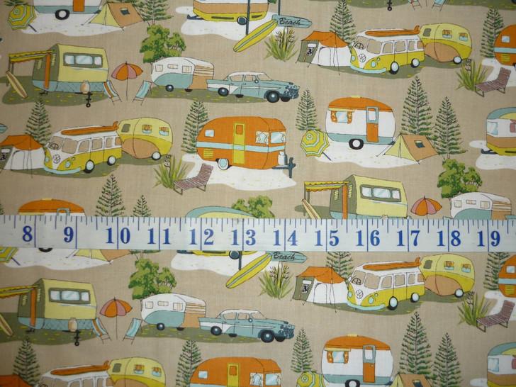 Retro Holiday Caravan Vintage Camping Beach Cotton Quilting Fabric 60cms