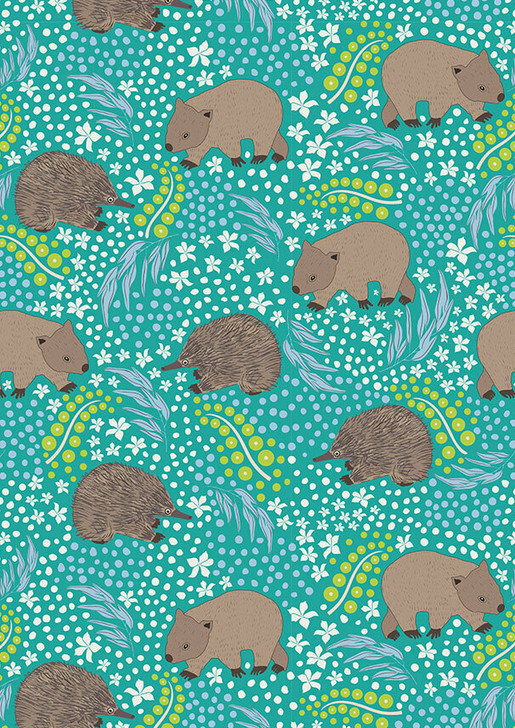 Australian Animal Echidna and Wombat Aqua Green Cotton Quilting Fabric 60cms