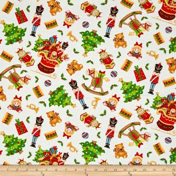Father Christmas Santa Jolly Ole St Nick Toys Tossed White Cotton Quilting Fabric 75cms