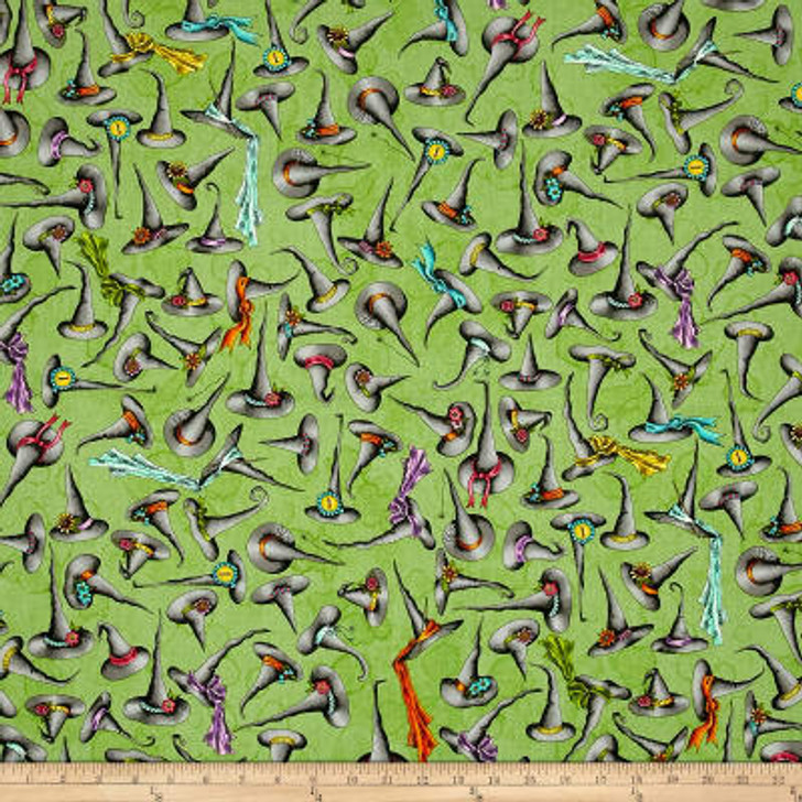 Salem Quilt Show Witches Hats Green Background Cotton Quilting Fabric 70cms