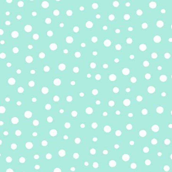 Susybee Gwyn the Penguin Irregular Dot Teal Cotton Quilting Fabric 55cms