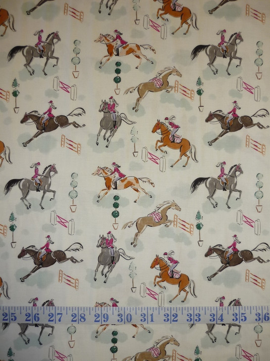 Best in Show Gymkhana Horses Cotton Quilting Fabric