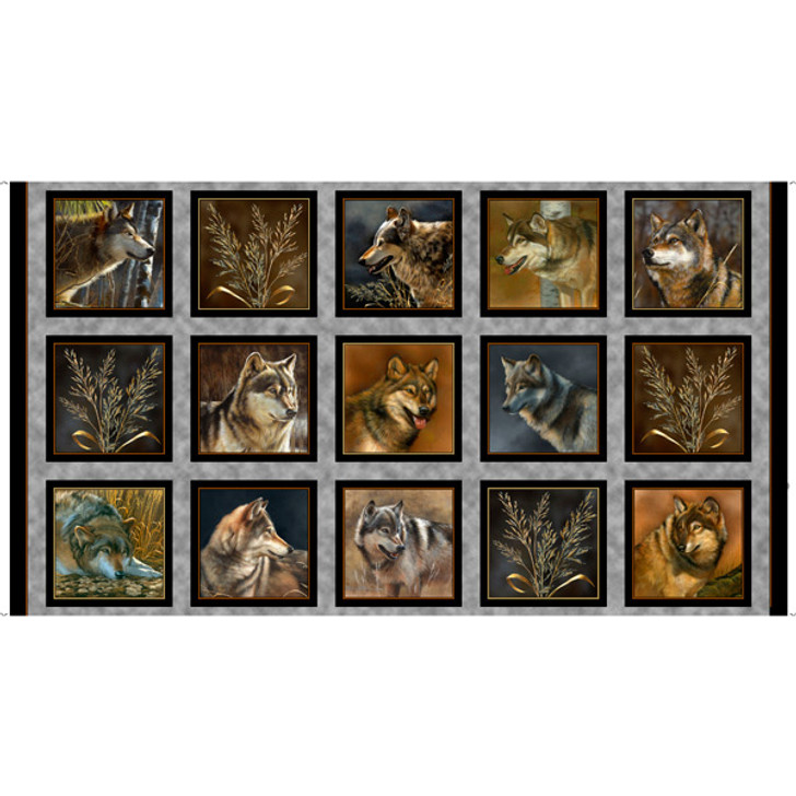 Majestic Wolves Wolf Picture Patches Cotton Quilting Fabric Panel