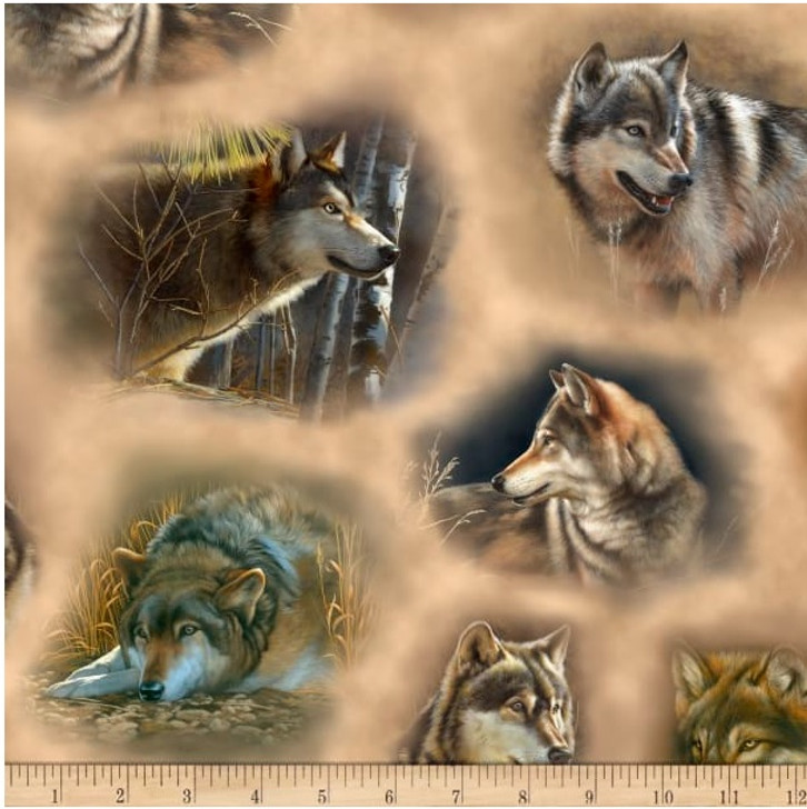 Majestic Wolves Wolf Vignettes Tan Cotton Quilting Fabric
