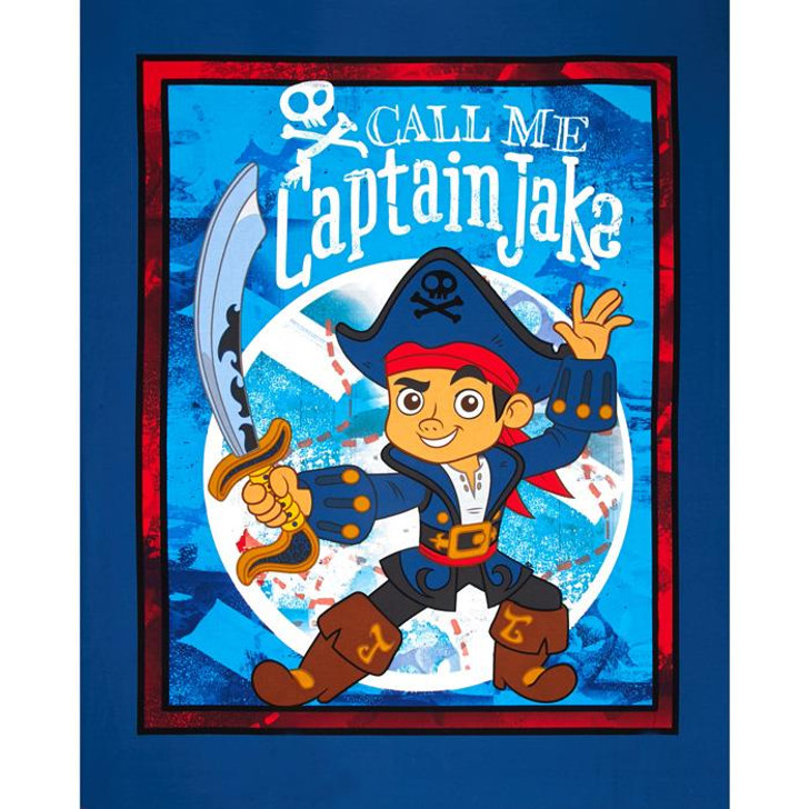Disney Jake And The Neverland Pirates Captain Jake Blue Cotton Quilting Fabric Panel