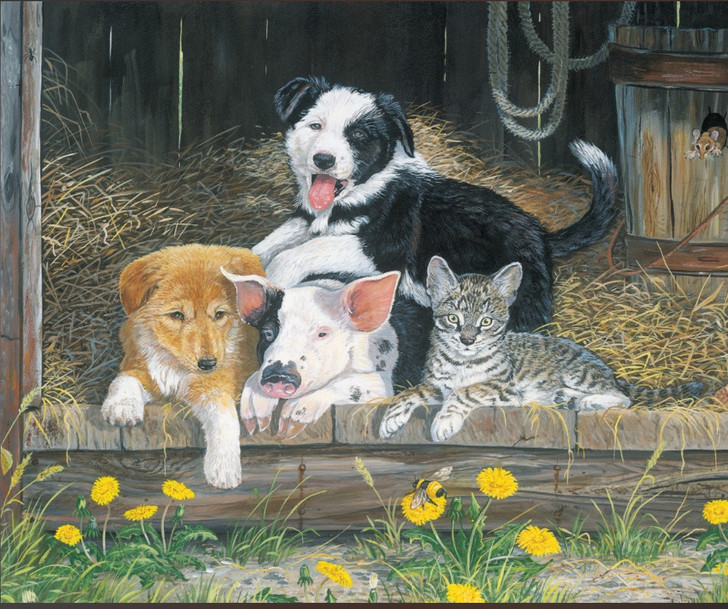 Barnyard Buddies Dogs Pig Cat Mouse Cotton Quilting Fabric Panel